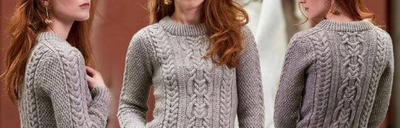 Оригинальный ажурный пуловер-погон «EIRA» спицами
