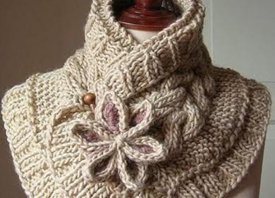 Женский необычный шарф спицами