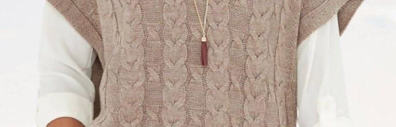 Красивейший узор для безрукавок и жакетов, связанных спицами: фасонный жгут