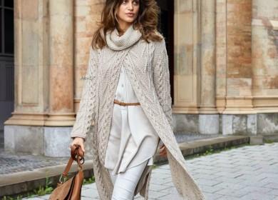 Стильные модели пальто спицами для прохладных вечеров