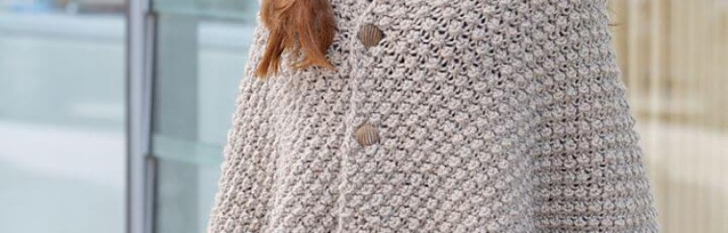 Многофункциональная и практичная накидка шаль спицами