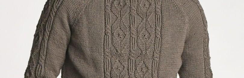 Классический мужской пуловер спицами с красивым узором