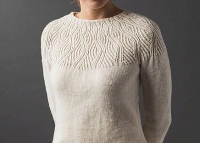 8 моделей женских свитеров с изящной кокеткой вязанные спицами