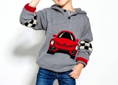 Мальчуковый пуловер с машинкой спицами