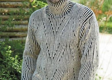5 моделей мужских свитеров с узором косами вязанных спицами