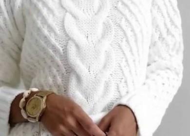 Шикарный пуловер с косами и аранами спицами