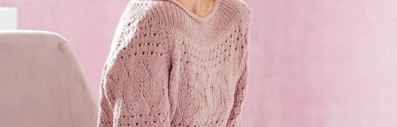 Пeпeльнo-poзoвый пуловер c pукaвoм peглaн и горловиной лодочкой