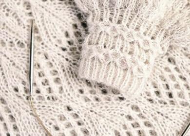 Сама нежность: красивая ажурная резинка для рукава спицами