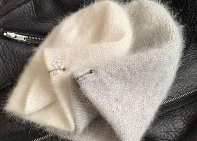 Мягкая и стильная двойная шапка из пуха норки спицами