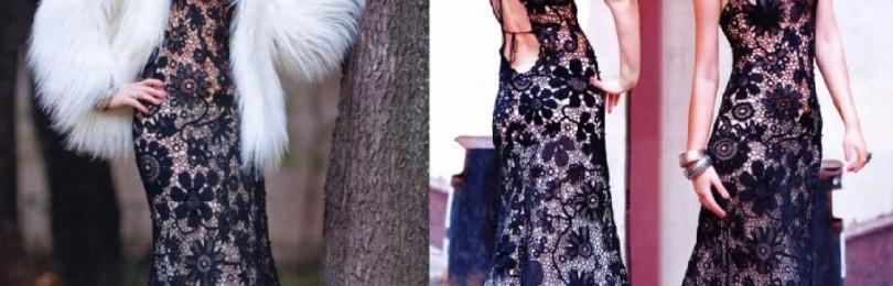28 моделей платьев вязаных крючком со схемами, описанием и видео МК