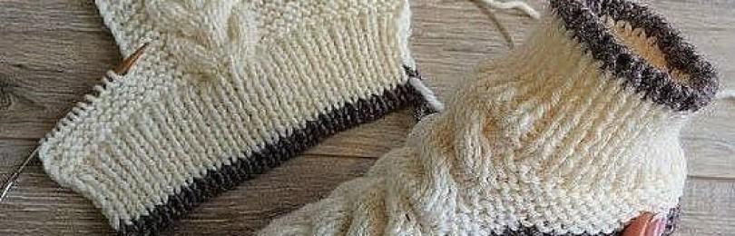 7 уютных моделей следков с косой вязанных спицами