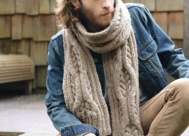 3 модели мужских объемных шарфов с оригинальным узором спицами