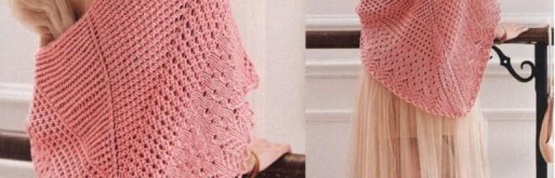 Подробное описание вязания ажурной косынки спицами
