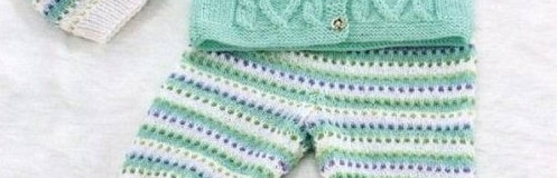 14 моделей вязаных спицами костюмчиков для новорожденных