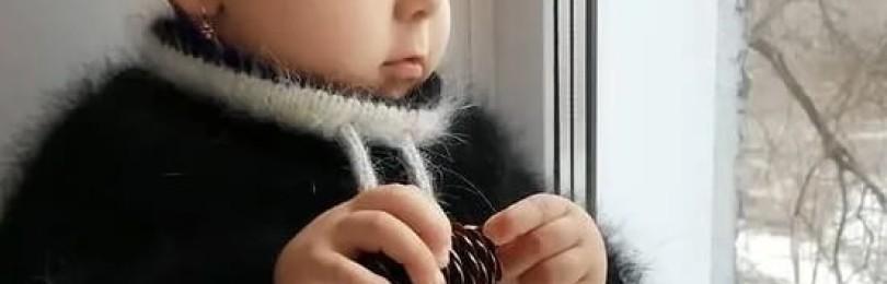 Худи из пуха норки для малышей спицами