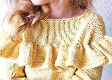 Оригинальная отделка вязаной одежды: воланы и рюши спицами