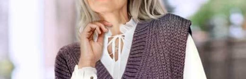 Стильный образ: женский жилет спицами узором английская резинка