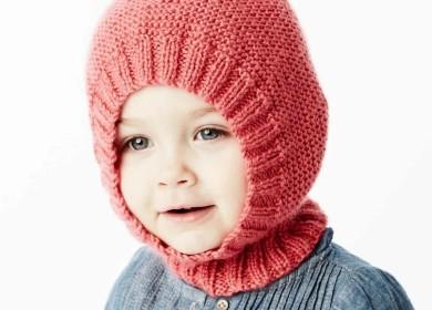 Забавная зимняя шапка шлем «гномик» спицами для детей