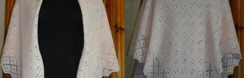 9 вариантов пуховых платков вязаных спицами со схемами, описанием и видео мк