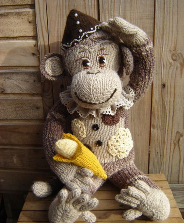 вязанная обезьянка спицами 1