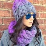 Зимняя шапка для женщин связанная спицами с градиентом — описание, фото и видео