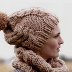 Женские шапки связанные из толстой пряжи спицами