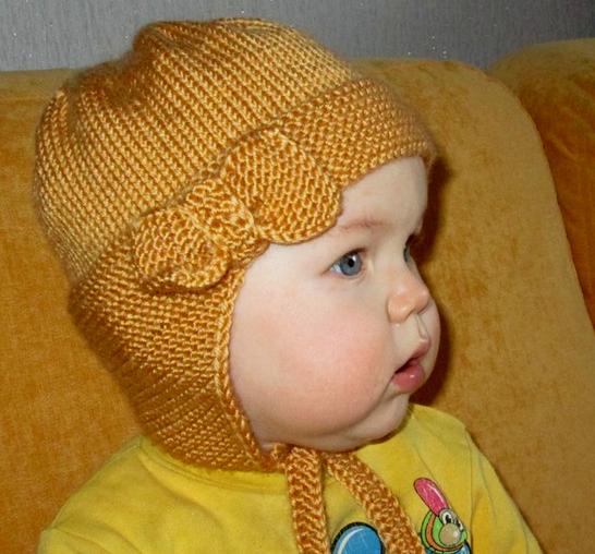 шапочка с ушками спицами 2