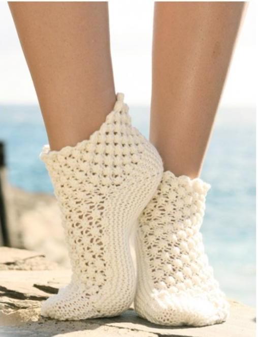 ажурные носочки спицами 3