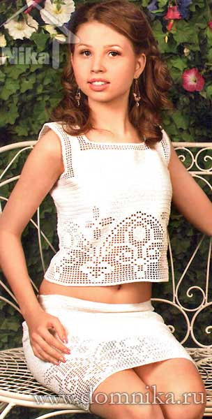 юбка филейное вязание 1