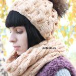 Шапка и шарф спицами — оригинальный комплект с описанием