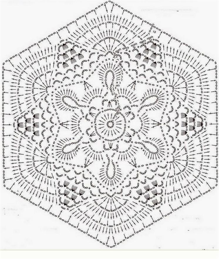 шестиугольные мотивы крючком со схемами 30 мотивов и описанием