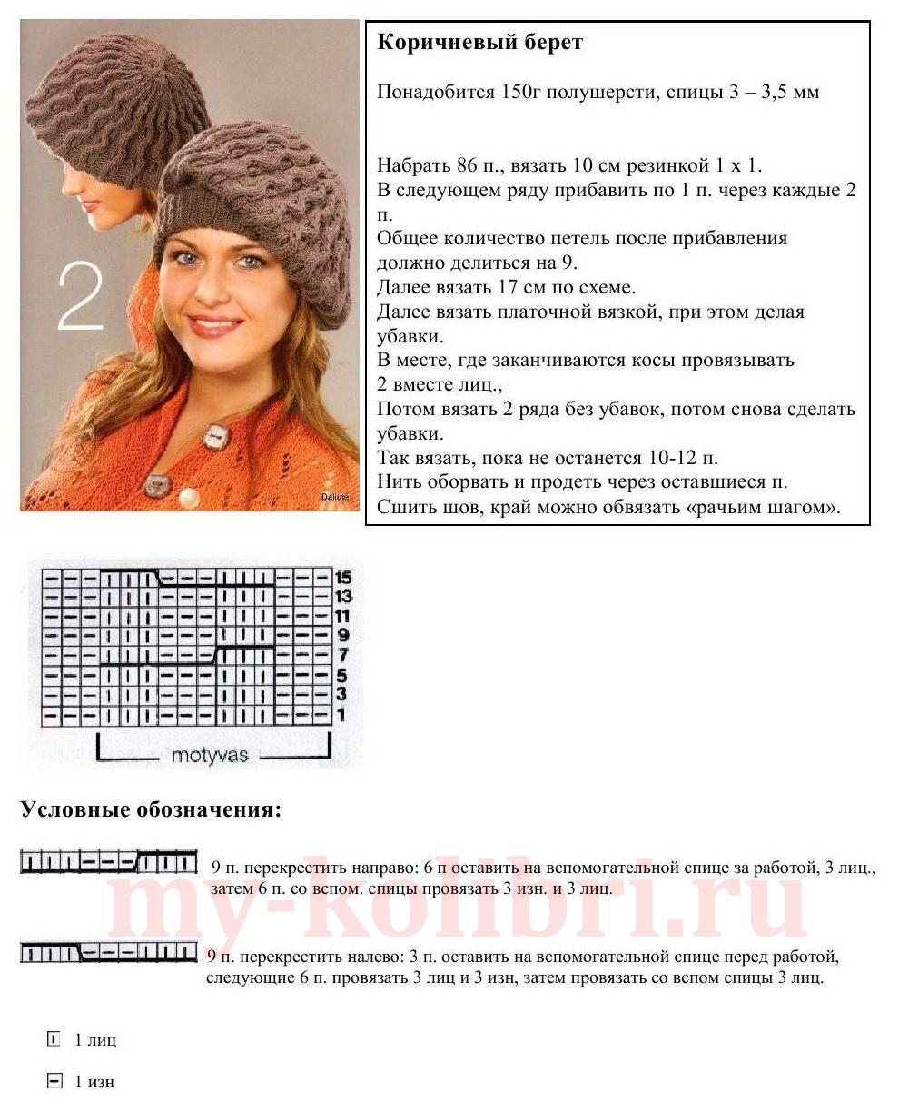 Подробная схема вязания берета фото 770
