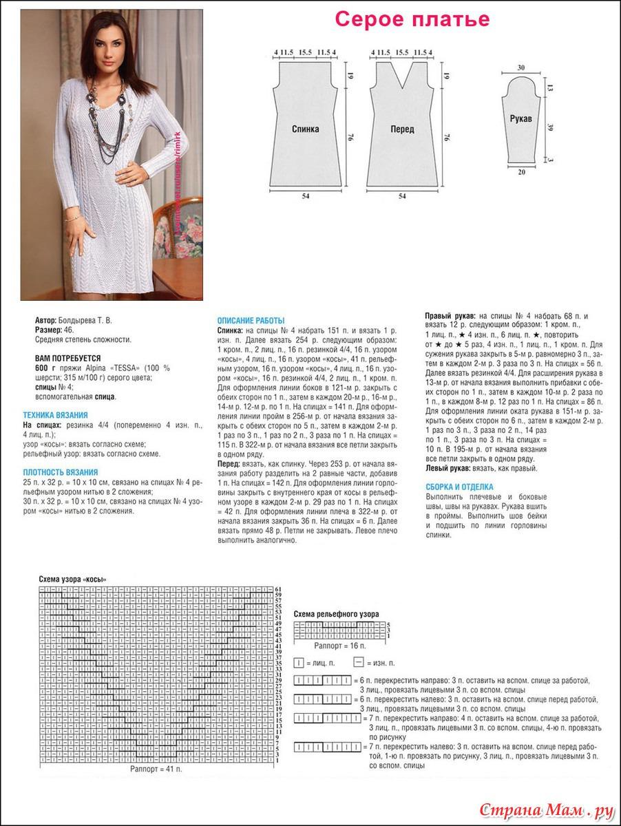 Вязаные платья спицами для женщин. 60 бесплатных схем