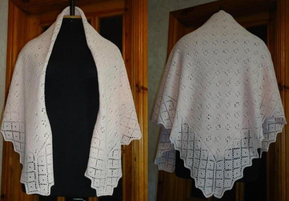 пуховый платок схема вязания спицами 9 моделей с описанием и видео