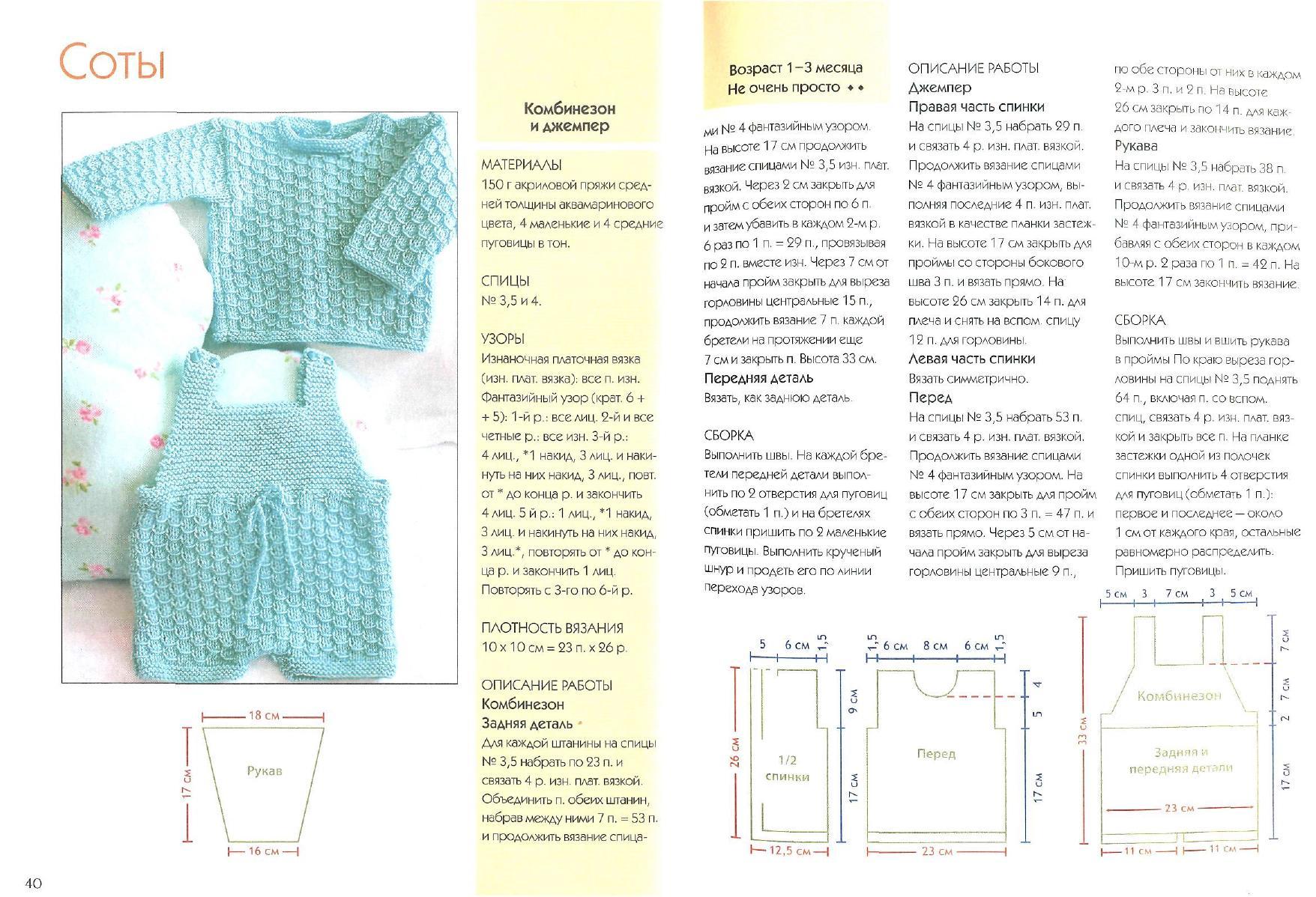 Схема комбинезона для новорожденного спицами фото