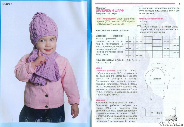 Связать шапочку девочке спицами схема фото 732