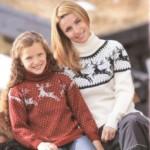 6 моделей женских свитеров с оленями со схемами, описанием и видео МК