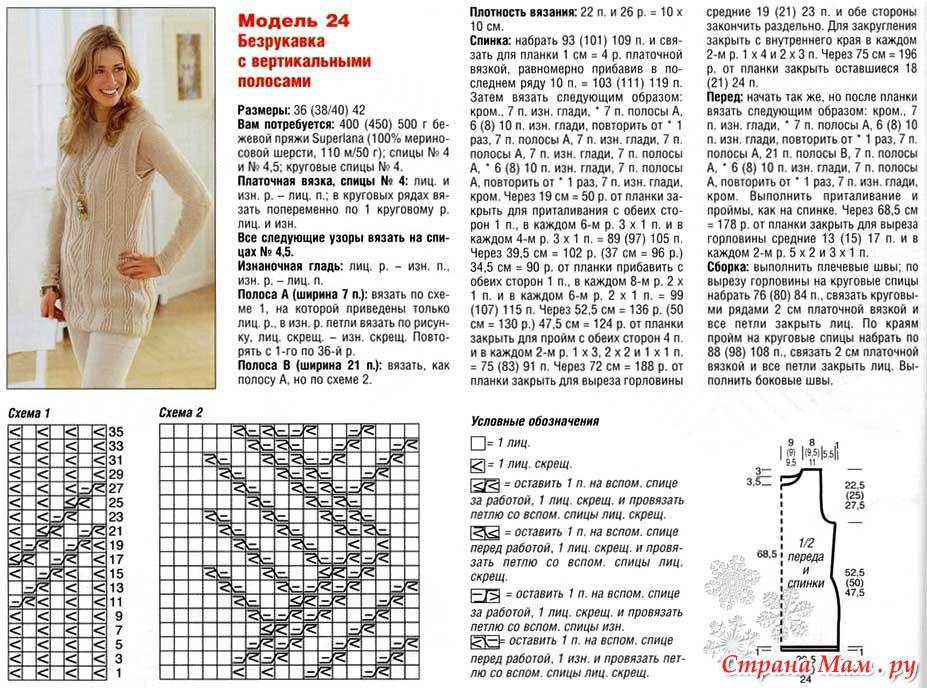 Безрукавки и жилеты вязание спицами модели и схемы 2018