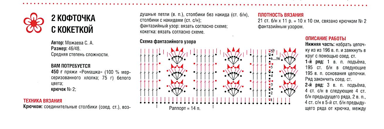 круглая кокетка крючком схемы и описание 12 моделей кофточек для