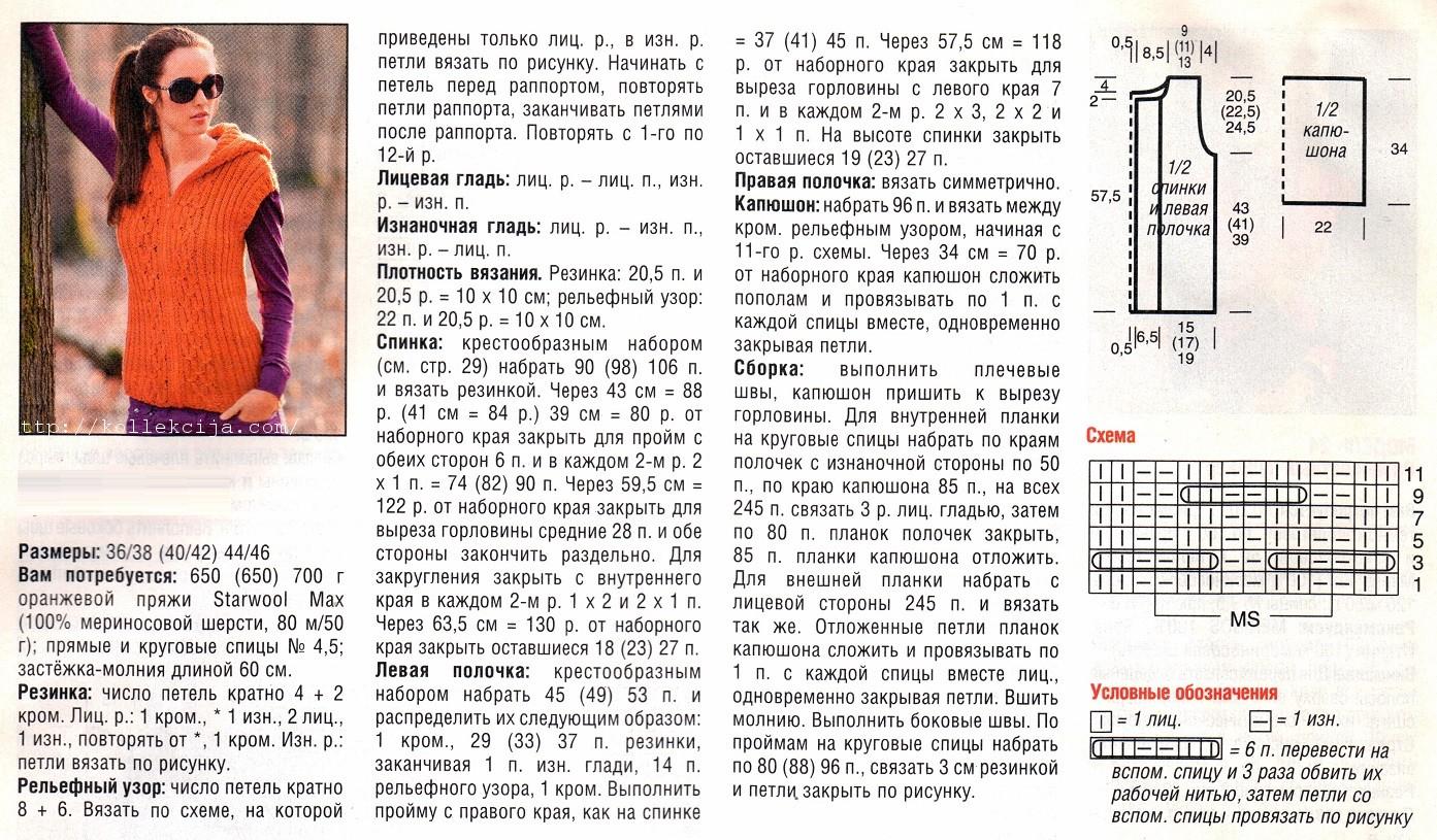 Женская безрукавка спицами схемы и описание фото