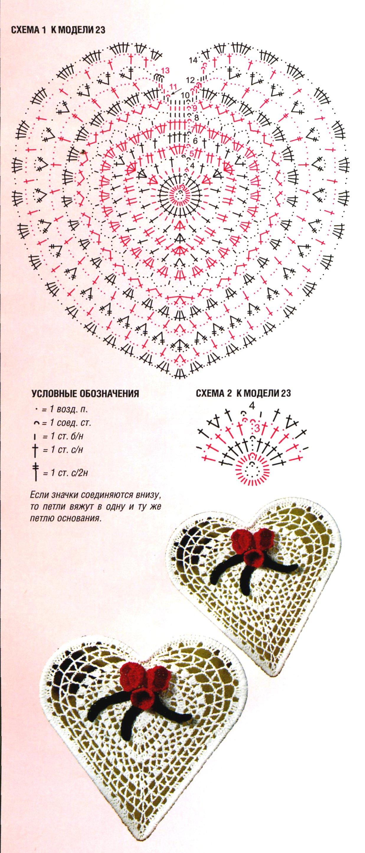 Схема вязания сердца крючком просто 8