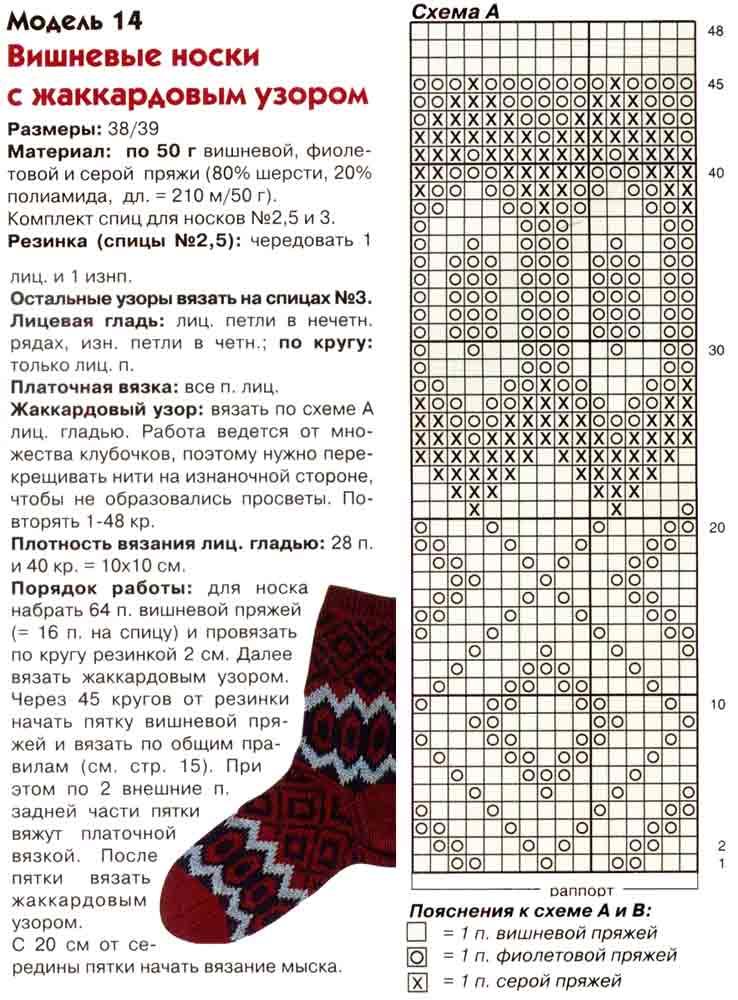 вязаные носки спицами с узором 14 моделей со схемами и описанием