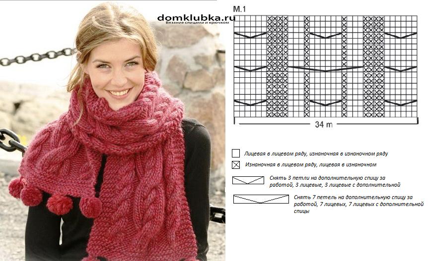 Вязание крючком шарф из толстой пряжи 71