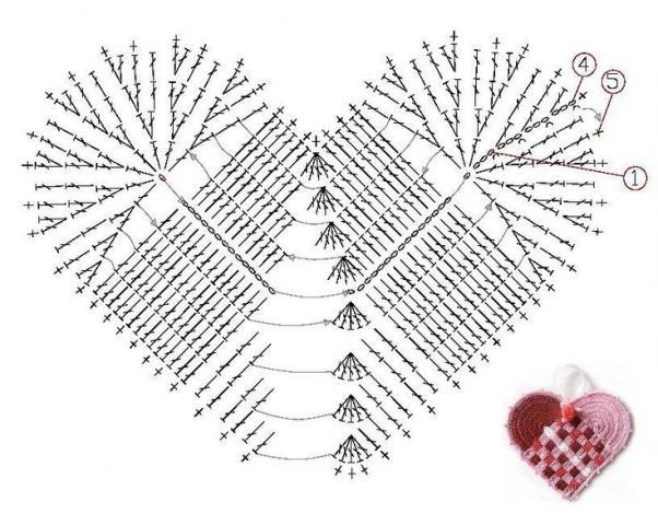 Схема вязания сердца крючком просто 85