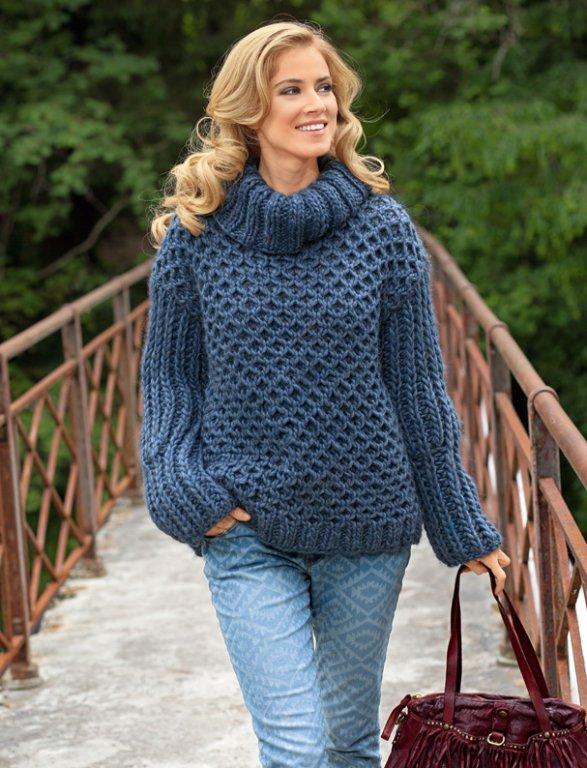 свитера крупной вязки спицами 10 моделей со схемами и описанием