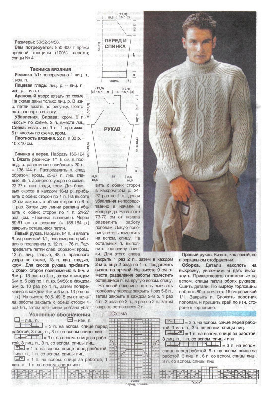 Мужской пуловер спицами схемы с описаниями фото