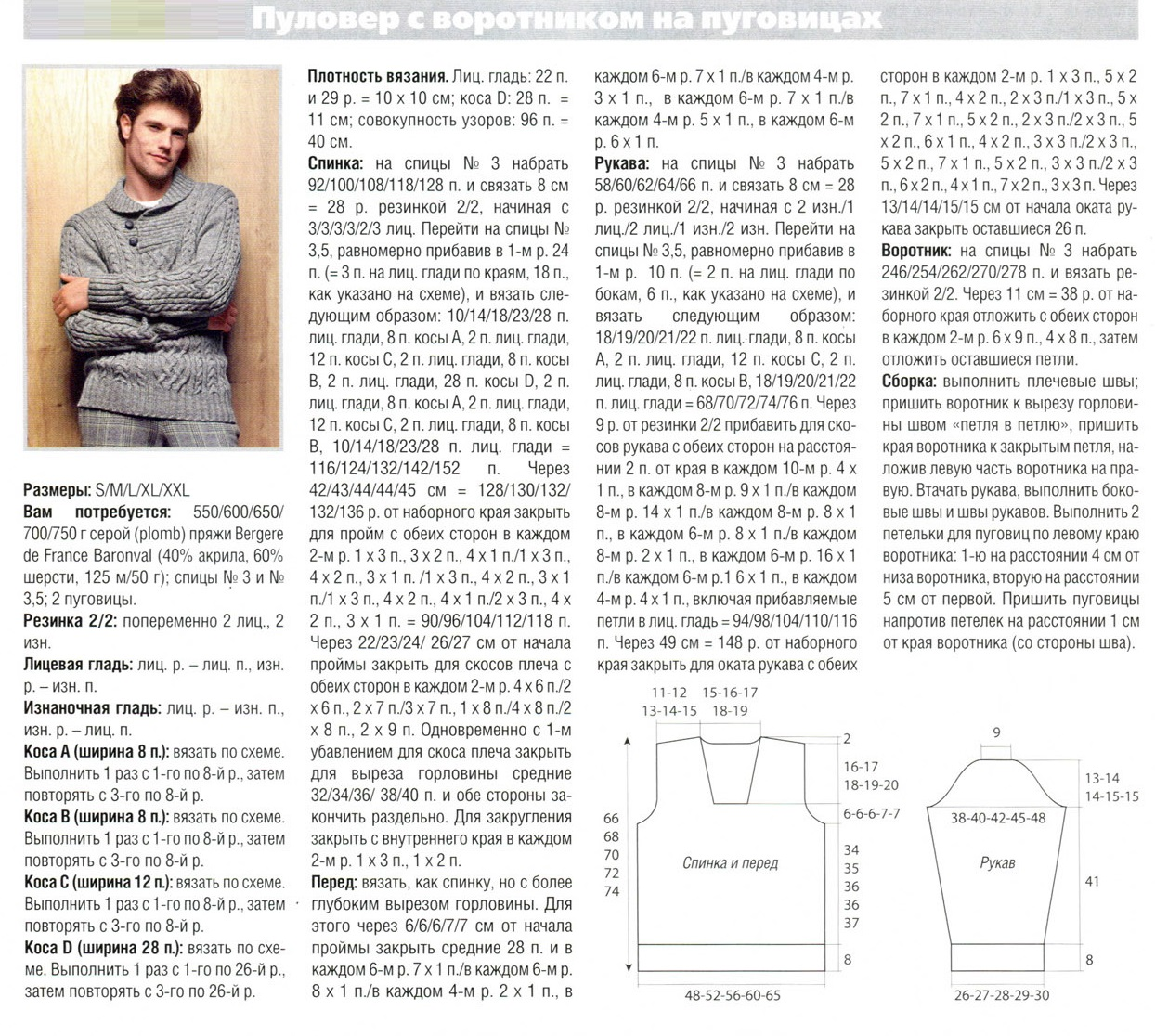 Вяжем мужские свитера спицами схемы и описание7
