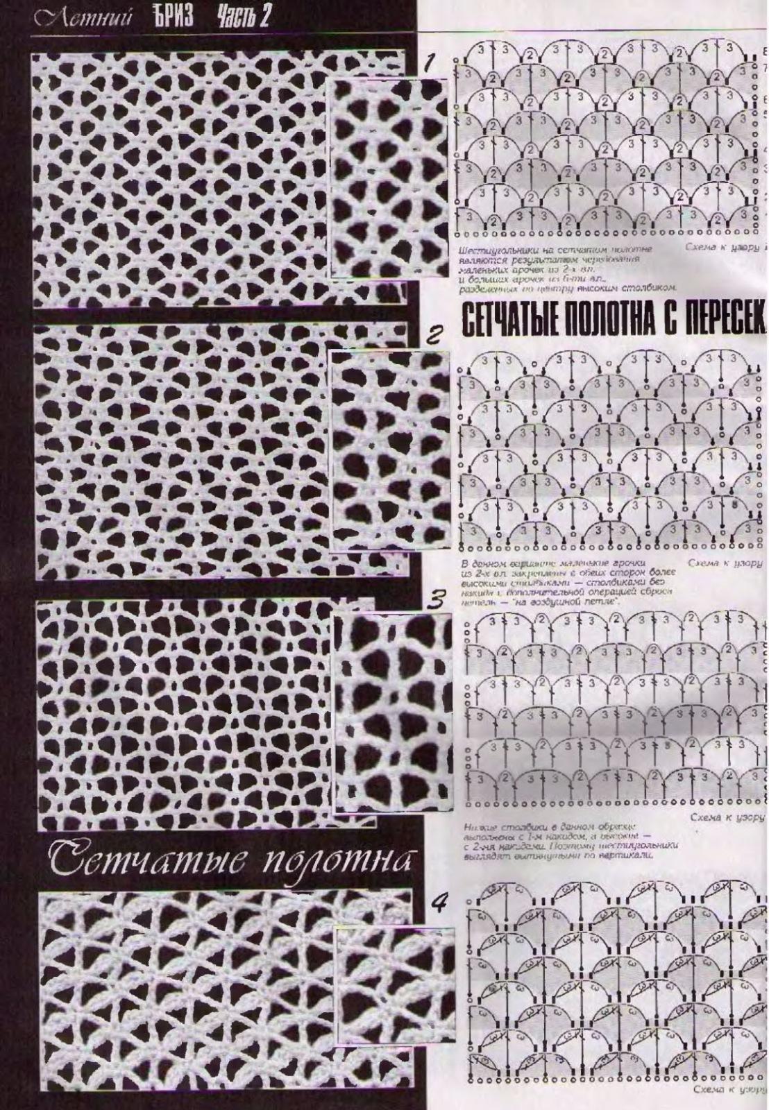 Схема ажурная сетка спицами схема