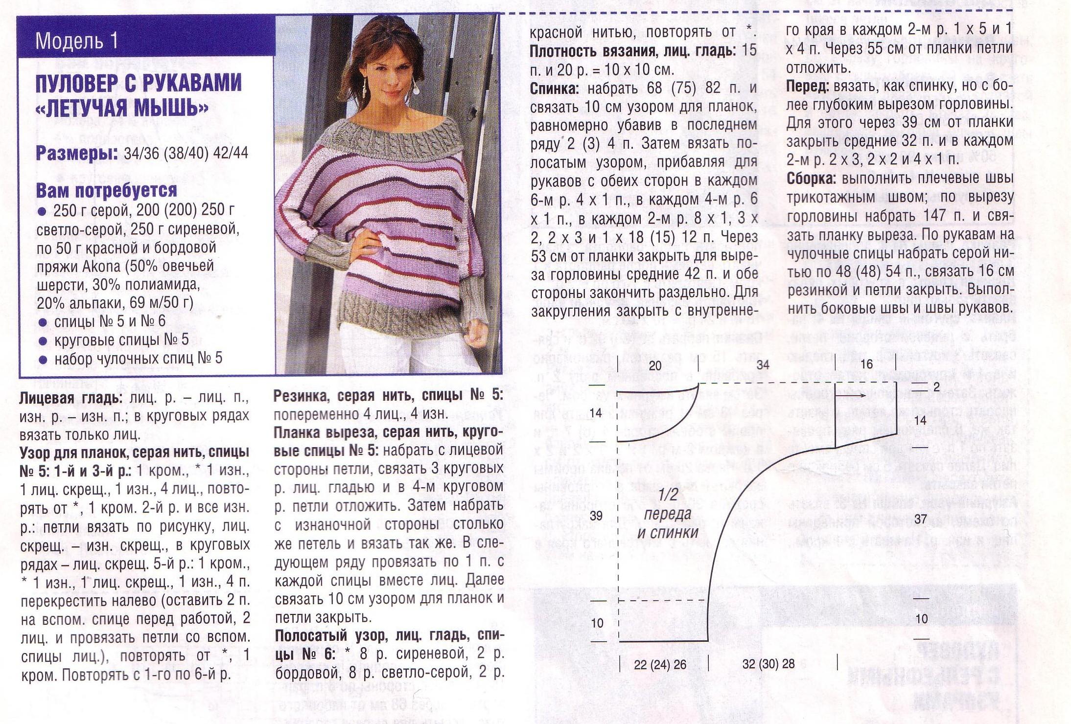 свитер спицами летучая мышь 16 моделей с описанием схемами и видео мк