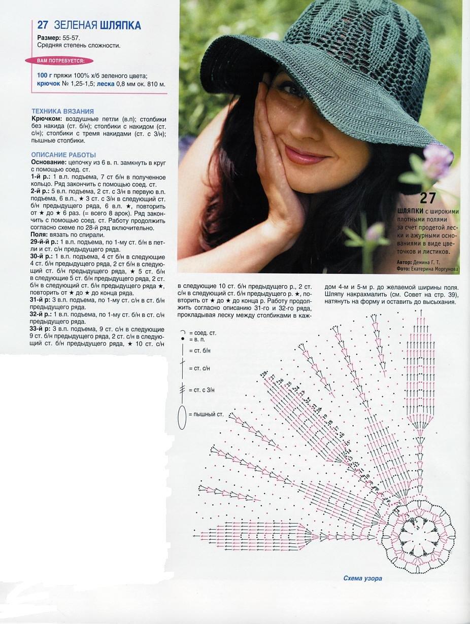 летние шляпки для женщин крючком схемы и видео мк 16 моделей